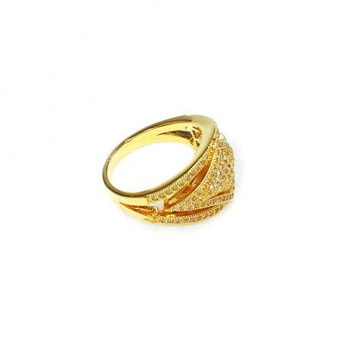 Anel Folheado Ouro 18k Micro Zircônias
