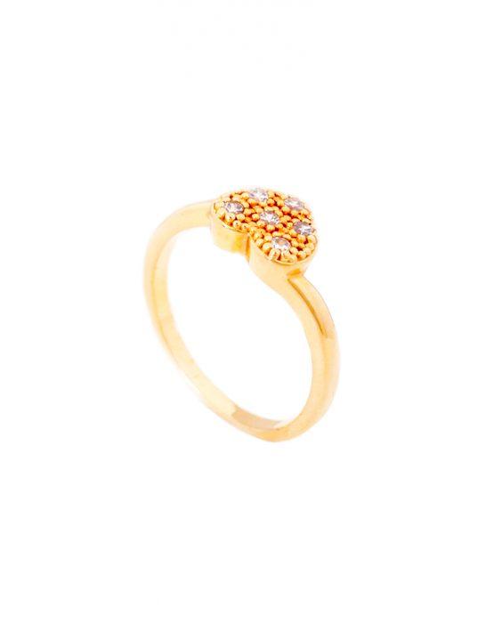 Anel folheado ouro 18k Coração com Micro Zircônias
