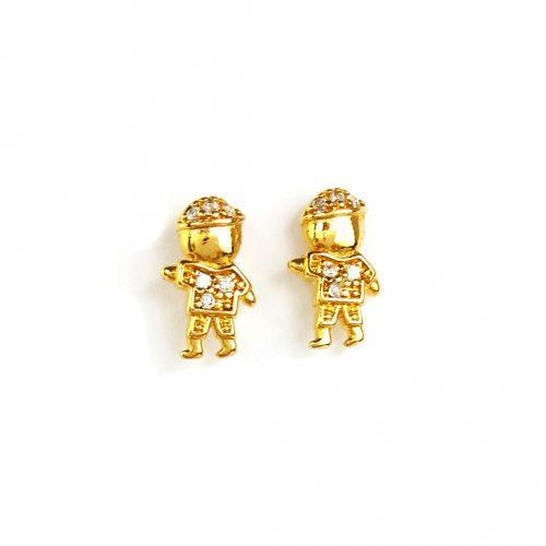 Brinco Folheado ouro 18K Menino com zircônias