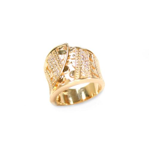 Anel folheado ouro 18K Luva cravejado com micro zircônias