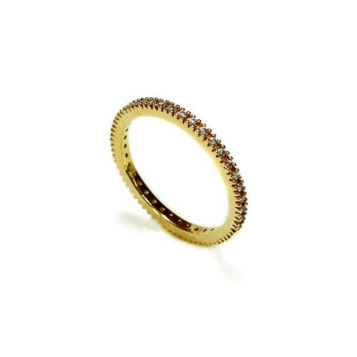 Anel folheado ouro 18k Aparador cravejado com micro zircônias