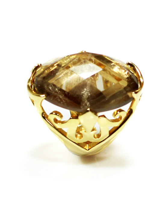 Anel Folheado Ouro 18k Cristal Colombiano