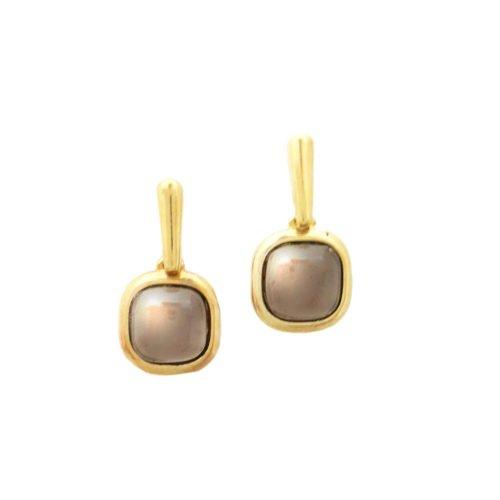 Brinco folheado ouro 18K com pedra brasileira obsidiana