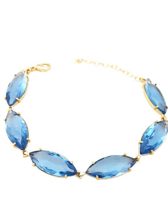 Pulseira Folheada Ouro 18K com cristal azul