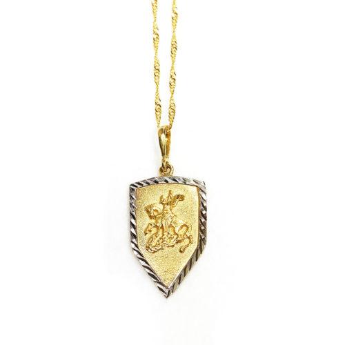 Colar folheado ouro 18K Pingente Escudo de São Jorge