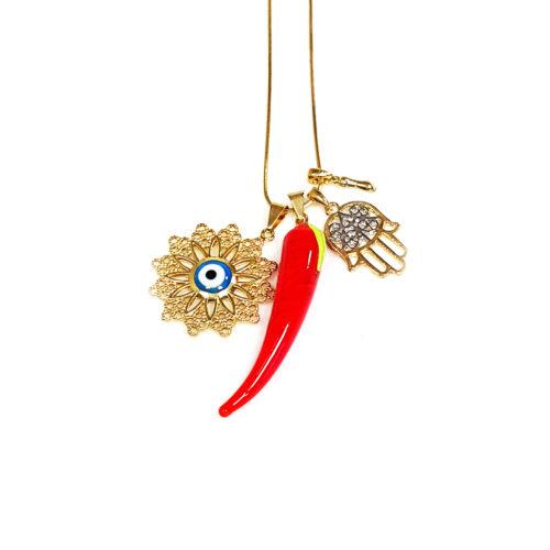 Colar folheado ouro 18K com Olho grego, Pimenta, Figa e Mão de Fátima