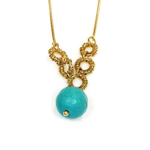 Colar folheado ouro 18K e Pedra Brasileira Ágata Azul e Pedra da Lua