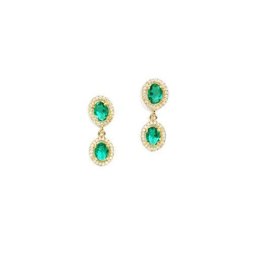 Brinco folheado ouro 18K Cristal Verde e Micro Zircônias