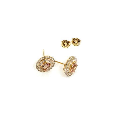 Brinco folheado ouro 18K Cristal e Micro Zircônias