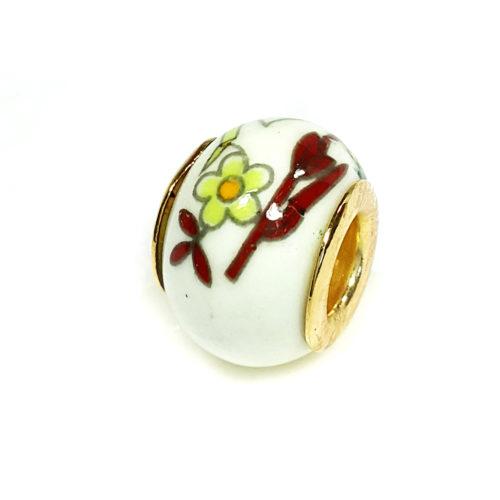 Berloque Folheado Ouro 18k Separador Flores