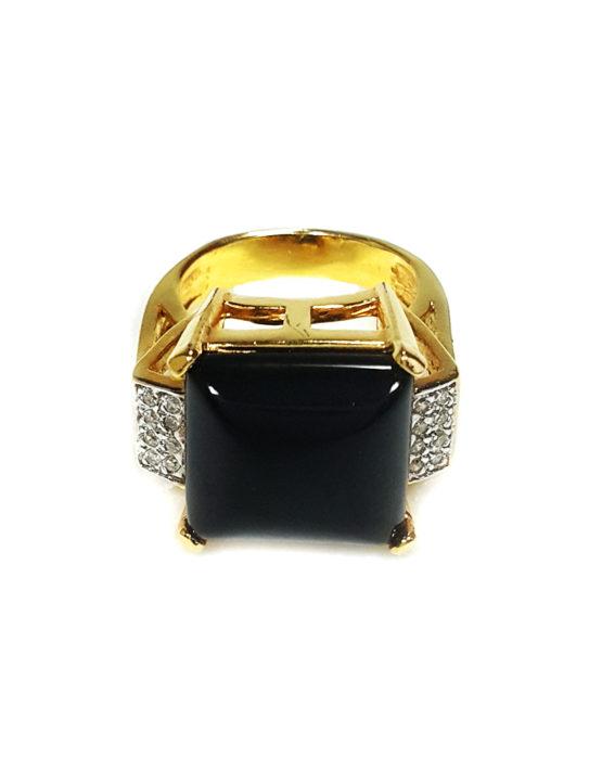 Anel Folheado Ouro 18k com Pedra Ônix e Zircônia