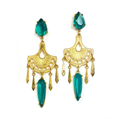 Brinco folheado ouro 18K com Cristal verde esmeralda