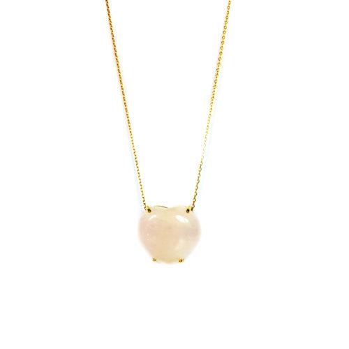 Colar folheado ouro 18K com pedra brasileira quartzo rosa