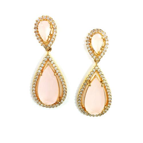 Brinco Folheado ouro 18K Cristal Rosa e Zircônias