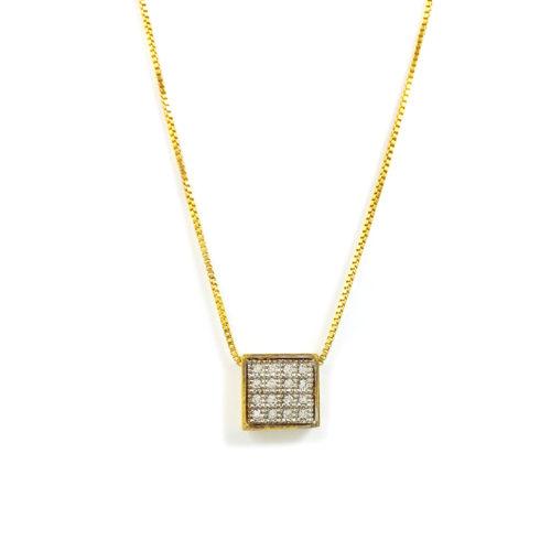 Colar folheado ouro 18K Pingente Quadro Micro Zircônias