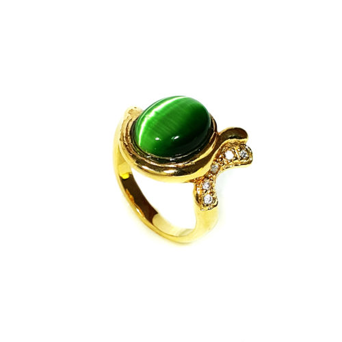 Anel Folheado Ouro 18k com Pedra Brasileira Amazonita Verde e Zircônias