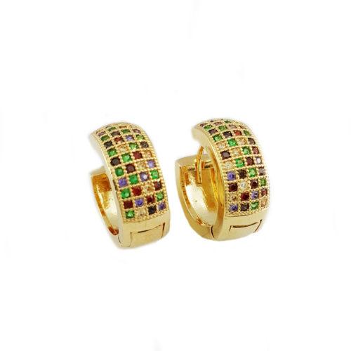 Brinco Folheado ouro 18K Cartier Inspired Zircônias Cravejadas Coloridas