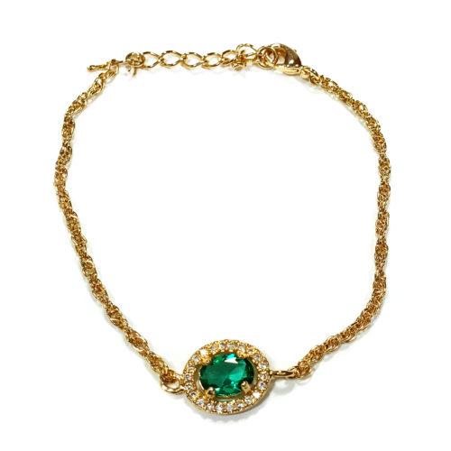 Pulseira Folheada Ouro 18K e detalhe cristal Verde e Zircônia