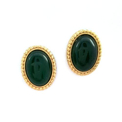Brinco Folheado ouro 18K Pedra Brasileira Amazonita Verde