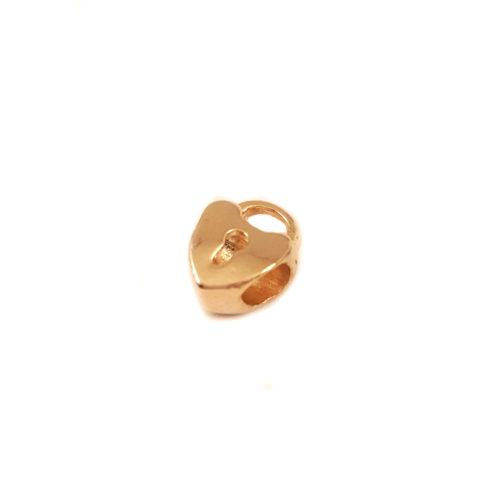 Berloque Folheado Ouro 18k Coração Chave