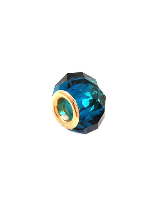 Berloque Folheado Ouro 18k Separador Azul Relevo