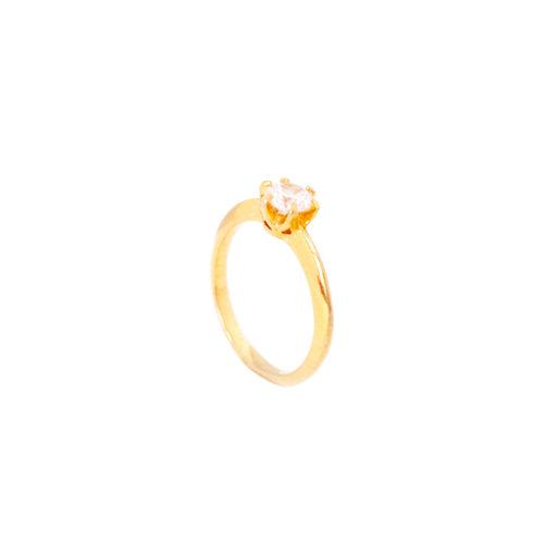Anel folheado ouro 18k Solitário delicate com zircônia