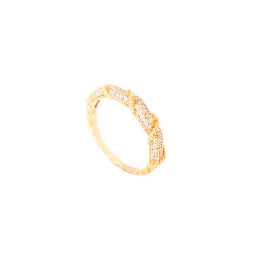 Anel folheado ouro 18k com fio torcido e micro zircônias