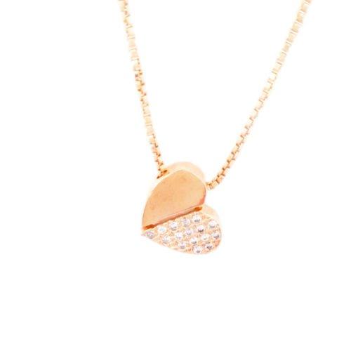 Colar folheado ouro 18K pingente coração com zircônias