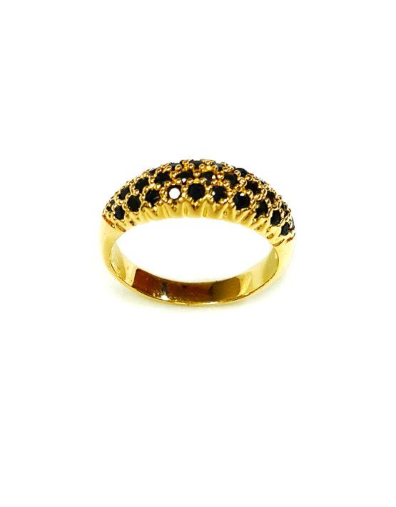Anel Folheado Ouro 18k Micro Zircônias Negra