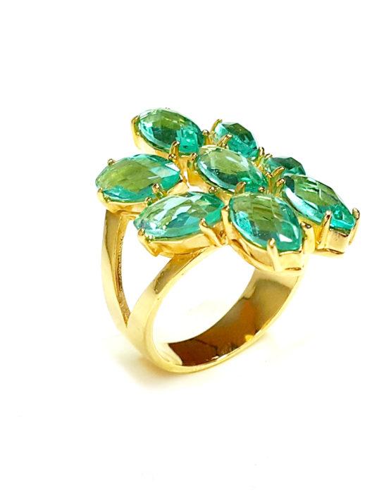 Anel Folheado Ouro 18k Cristal Turmalina