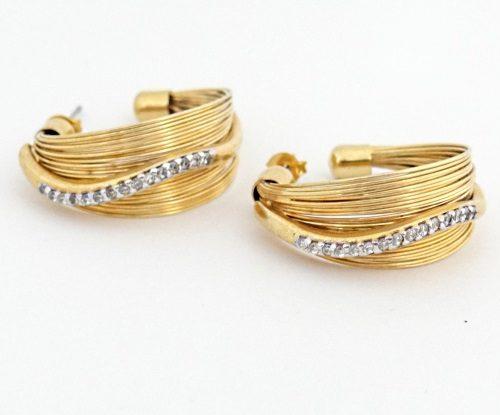 Brinco Argola com Fios e Zircônias Folhado Ouro 18k Dourado