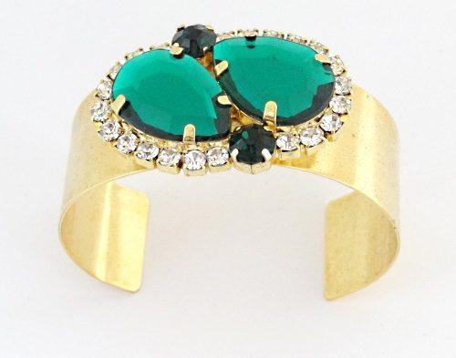 Bracelete com Zircônia e Pedra Sintética Verde Folhado Ouro 18k
