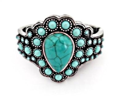 Bracelete Bijuteria com pedra turquesa