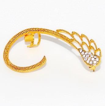 Brinco Dourado Ear Couff Asa c/ Cristal