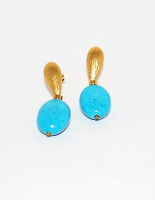 Brinco Folheado Ouro 18K e Pedra Brasileira Ágata Azul