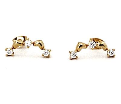 Brinco Folheado Ouro 18k Mini Ear Couff com Zircônias