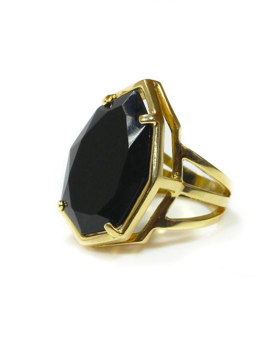Anel folheado ouro 18K com cristal negro