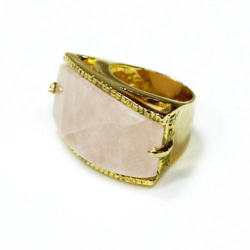 Anel folheado ouro 18k quartzo rosa