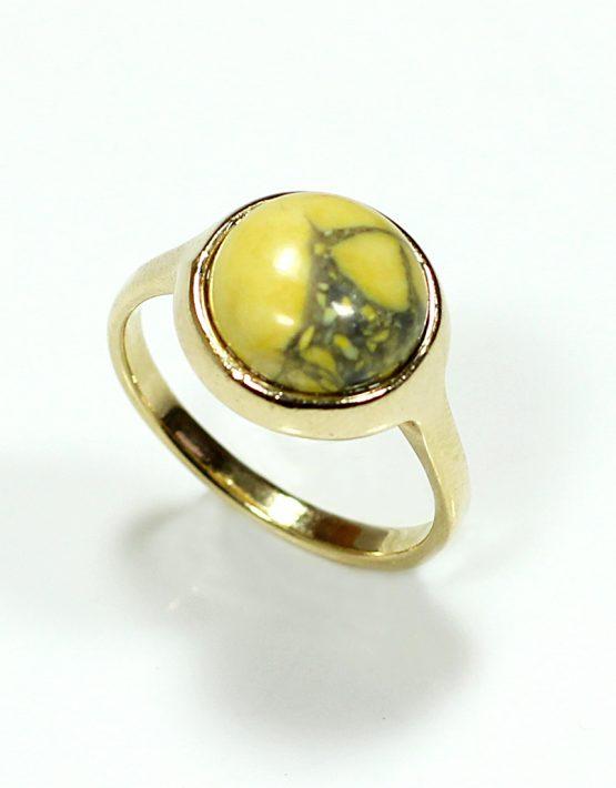 Anel folheado ouro 18k com pedra waulita amarela