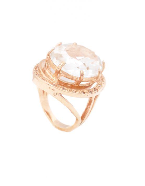 Anel folheado ouro 18k cristal translúcido e zircônias