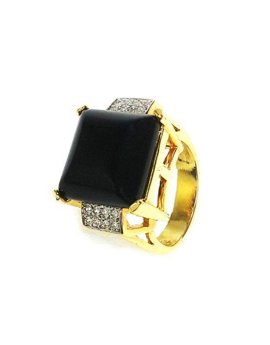 Anel folheado ouro 18k com pedra ônix e zircônias