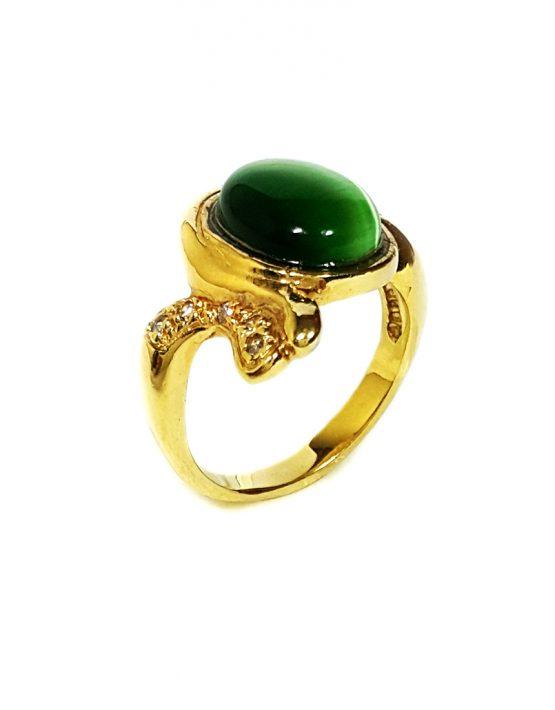 Anel folheado ouro 18k com pedra amazonita verde