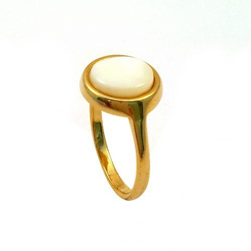Anel folheado ouro 18k com madrepérola