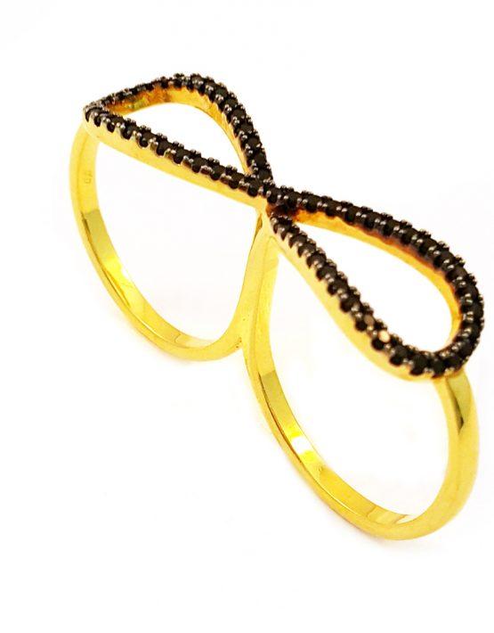 Anel folheado ouro 18K com zircônias negras