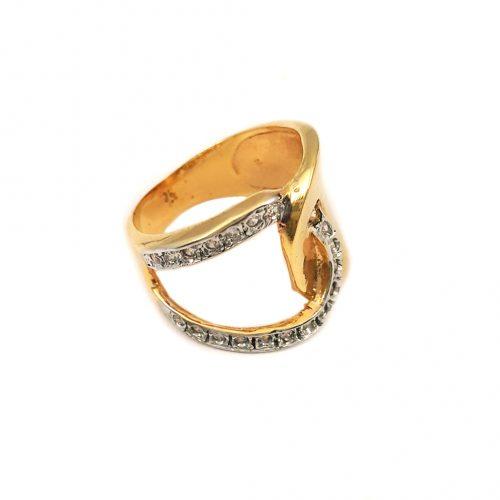Anel folheado ouro 18k com zircônias