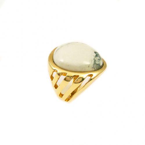 Anel folheado ouro 18k pedra howlita branca