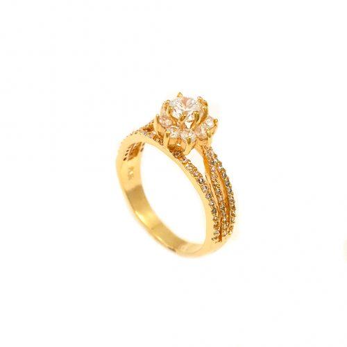 Anel folheado ouro 18k solitário zircônia