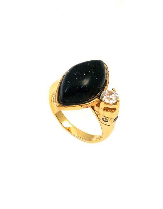 Anel folheado ouro 18k com pedra da estrela e zircônia