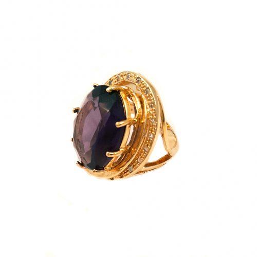 Anel folheado ouro 18k cristal púrpura e zircônias