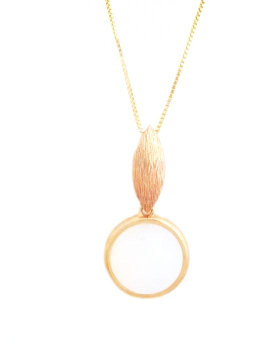 conjunto folheado ouro 18k colar e brinco madrepérola
